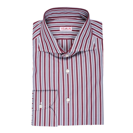 Isaia // Moretti Striped Dress Shirt // Burgundy + Gray (US: 15R)