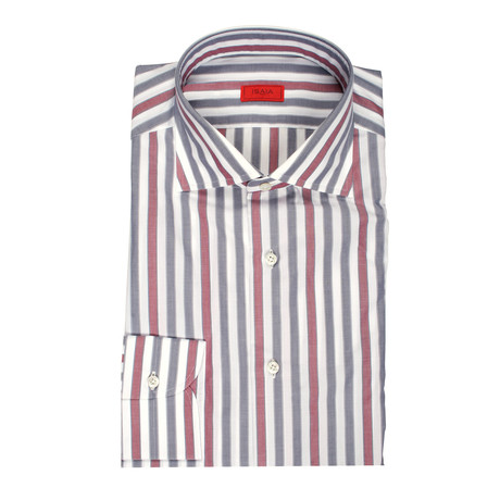 Isaia // Venero Striped Dress Shirt // Red + Gray (US: 15R)