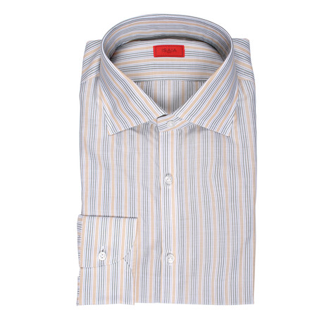 Isaia // Gerardo Striped Dress Shirt // Green + Beige + White (US: 15R)