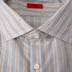 Isaia // Gerardo Striped Dress Shirt // Green + Beige + White (US: 15.75)