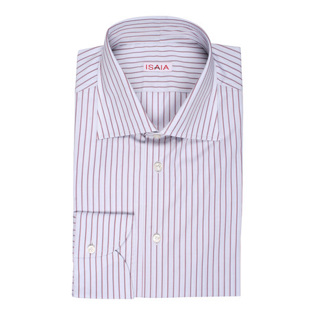 Isaia // Miranda Striped Dress Shirt // Red (US: 15R)
