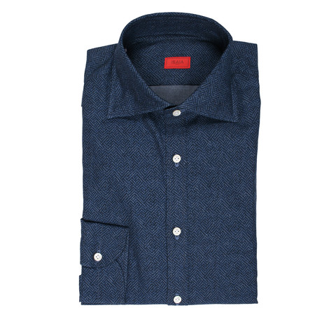 ISAIA // Santora Dress Shirt // Navy Blue (US: 15R)