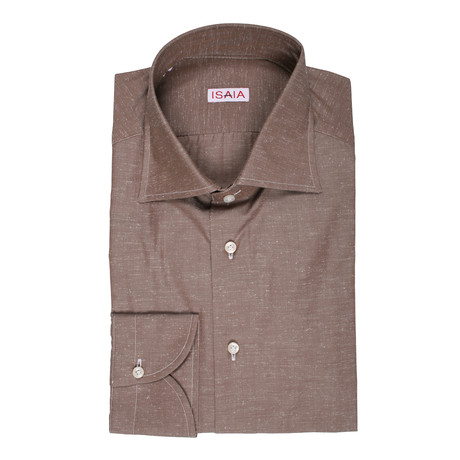 Isaia // Fiumara Dress Shirt // Brown (US: 15R)