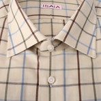Isaia // Decarlo Checkered Dress Shirt // Beige + Multicolor Stripe (US: 17.5R)
