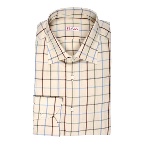 Isaia // Decarlo Checkered Dress Shirt // Beige + Multicolor Stripe (US: 15R)