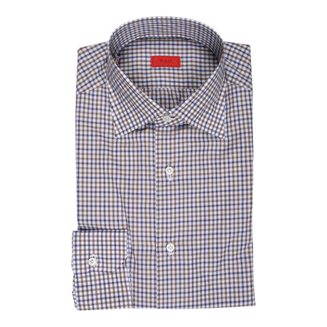 Carmine Checkered Dress Shirt // Blue + Brown (US: 15R)
