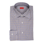 Isaia // Carmine Checkered Dress Shirt // Blue + Brown (US: 15.75)