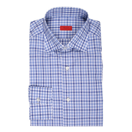 Isaia // Lanza Checkered Dress Shirt // Blue (US: 15R)
