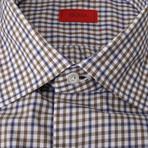 Isaia // Carmine Checkered Dress Shirt // Blue + Brown (US: 15R)