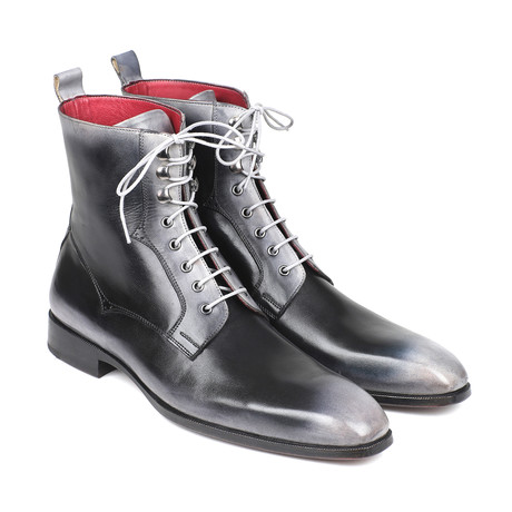 Burnished Leather Lace-Up Boots // Gray (Euro: 37)