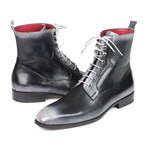 Burnished Leather Lace-Up Boots // Gray (Euro: 39)