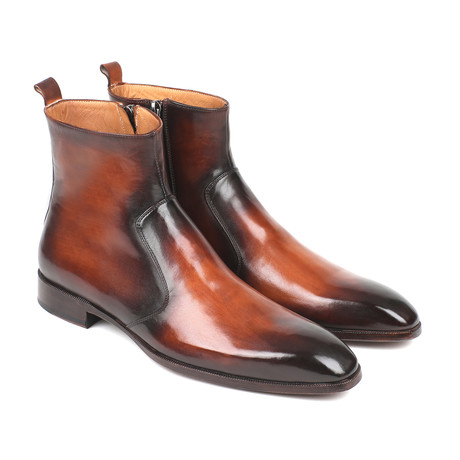 Burnished Side Zipper Boots // Brown (Euro: 37)