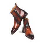 Burnished Side Zipper Boots // Brown (Euro: 41)