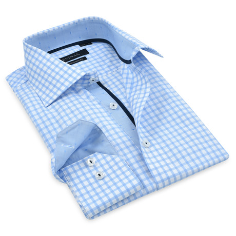 Elijah Checkered Button-Up Shirt // Blue (M)