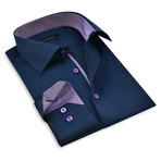 Button-Up Shirt // Navy + Purple (3XL)