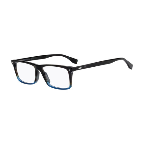 Fendi // Rectangular Eyeglass Frames // Dark Havana Fade to Blue
