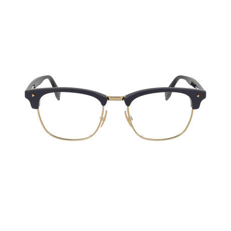 Fendi // Metal Rounded Eyeglass Frames // Dark Blue Gold