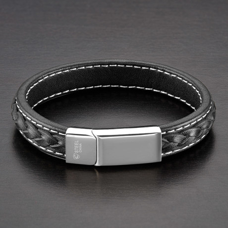 Double Layer Leather Bracelet // Black + White