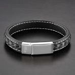 Double Layer Leather Bracelet // Black + White