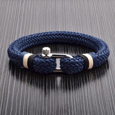 Cotton Cord Screw Bracelet // Blue