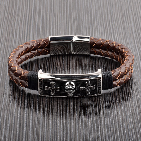 Antiqued Skull ID + Braided Leather Bracelet // Brown + Silver
