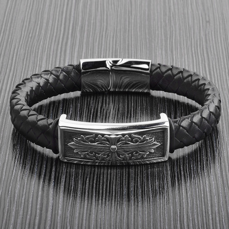 Antiqued Nordic ID Braided Leather Bracelet // Black