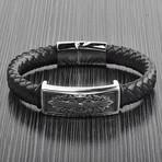 Antiqued Nordic ID Braided Leather Bracelet // Black