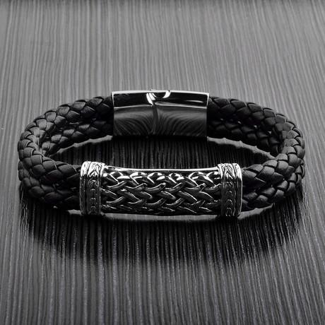 Antiqued Braided ID Leather Bracelet // Black