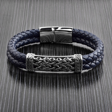Antiqued ID Double Braided Leather Bracelet // Blue + Silver