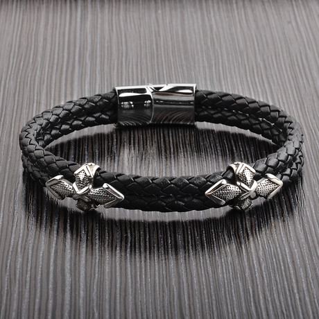 Antiqued Dagger + Double Braided Leather Bracelet // Black + Silver