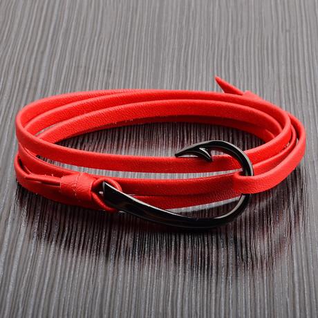 Hook Clasp + Leather Adjustable Wrap Bracelet // Red + Black