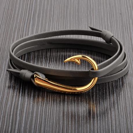 Hook Clasp + Leather Adjustable Wrap Bracelet (Gray + Gold)