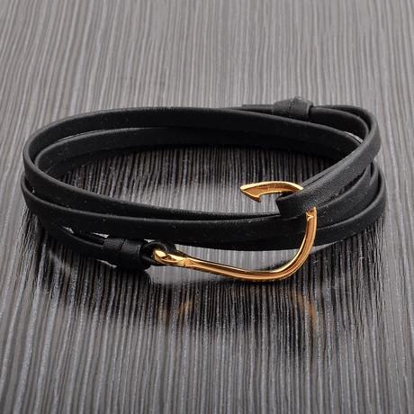 Hook Clasp Leather Wrap Bracelet