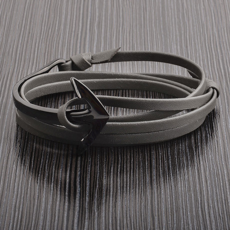Polished Anchor Clasp Leather Wrap Bracelet // Black + Gray