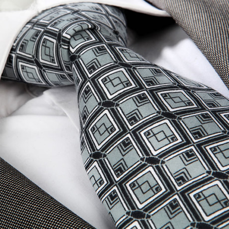 Fabio Silk Tie // Black + Gray Squares
