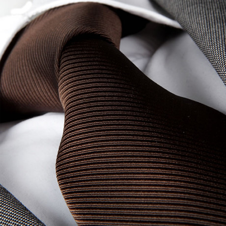 Christanio Silk Tie // Solid Brown Lines
