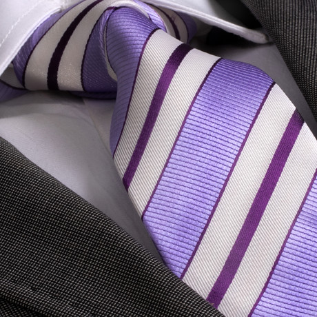 Colombo Silk Tie // Purple Striped