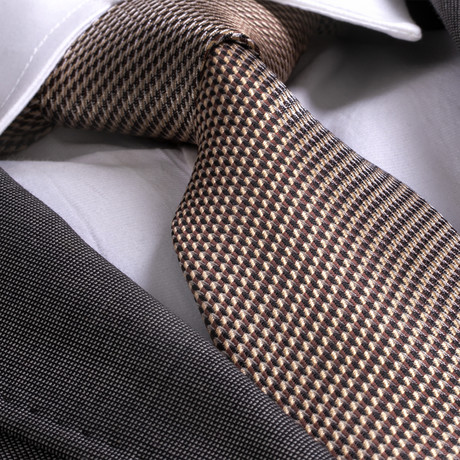 Cornelio Silk Tie // Gold + Brown Herringbone