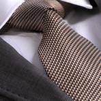 Cornelio Silk Tie // Gold + Brown Herringbone