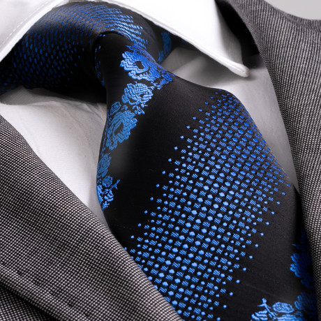 Dante Silk Tie // Blue + Black Flowers