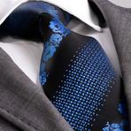 Dante Silk Tie // Blue + Black Flowers