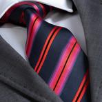 Benito Silk Tie // Navy + Blue + Red Stripe