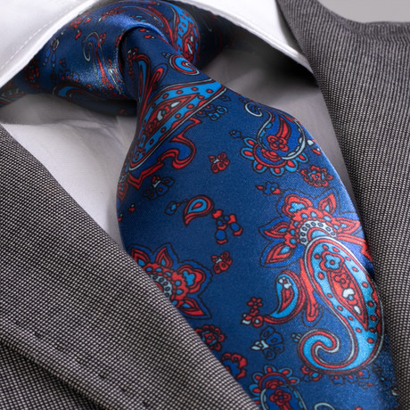 Benedetto Silk Tie // Blue + Orange Paisley