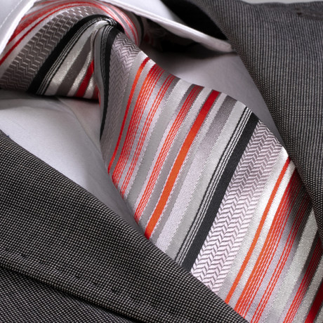Arman Silk Tie // Gray + Orange + Red Stripe