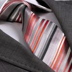 Arman Silk Tie // Gray + Orange + Red Stripe