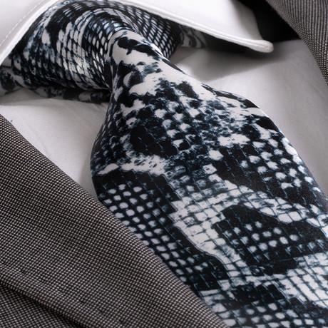 Angelo Silk Tie // Black + White Snake Skin