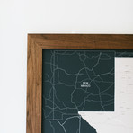 Push Pin Texas Map + Walnut Frame // Navy (100 Pins // White)