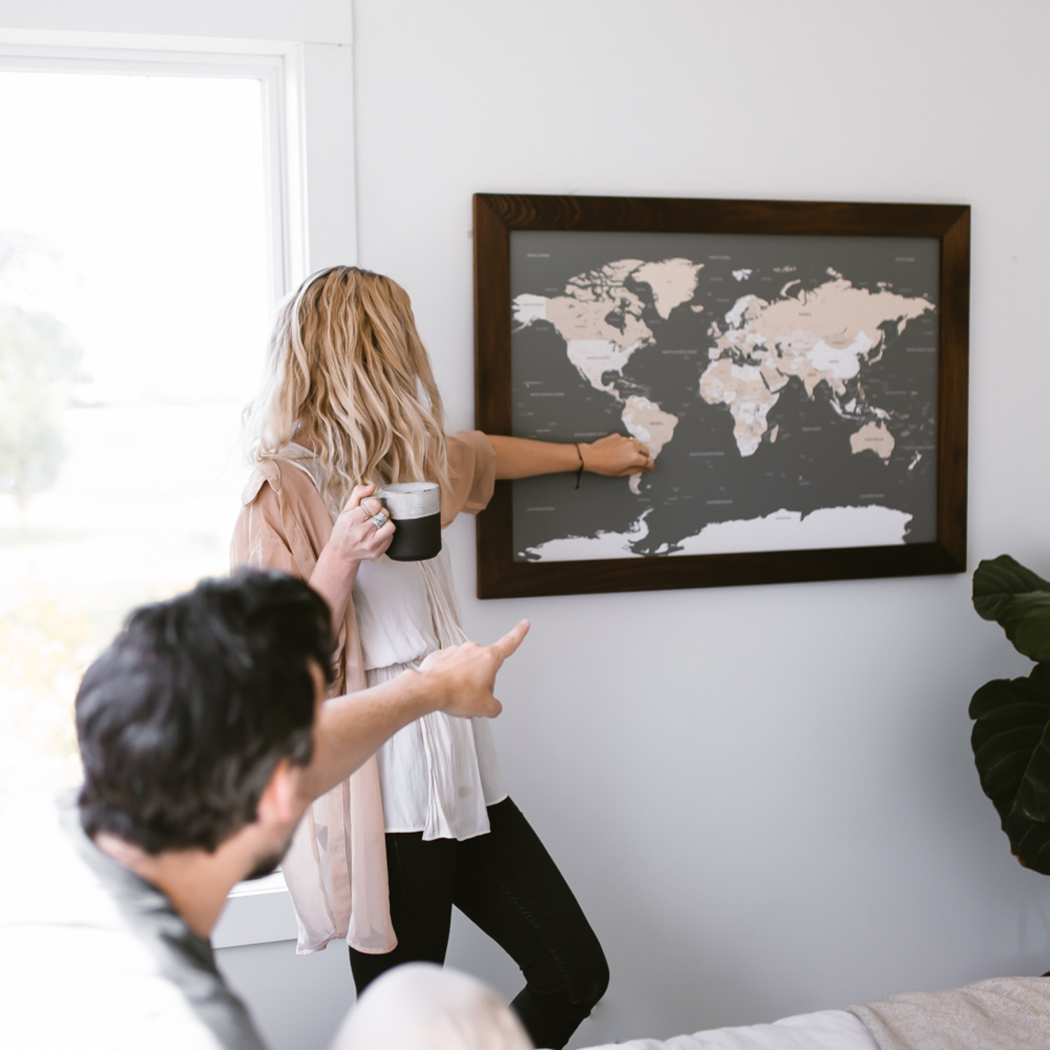 Push Pin World Map Walnut Frame Gray 100 Pins White