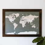 Push Pin World Map + Walnut Frame // Gray (100 Pins // White)