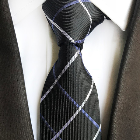 Jared Cross Stripe Silk Tie // Black